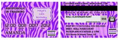 Invitation card teen birthday scavenger hunt mall