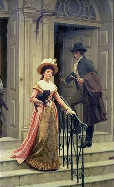 My Next Door Neighbour, Edmund Blair Leighton - They cannot speak because they have not officially been introduced. Those were the rules.