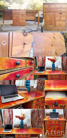 Great tutorial on how to paint and stain the same furniture piece for a cool antiqued look