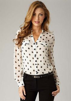 Rosalie Polka Dot Top. Cute business attire. dress shirts, hair colors, polka dots, dot top, business fashion, style, rosali top, work outfits, black pants