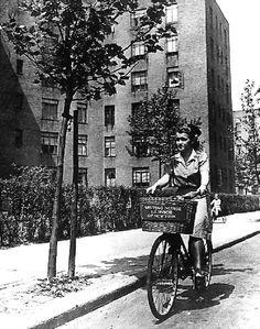 World War II era: Visiting Nurse Service of New York nurse on bike. For more historical pictures see https://www.facebook.com/media/set/?set=a.447468683338.240730.99588788338