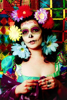 Colourful Sugar Skull Face Painting.  #diadelosmuertos #dayofthedead sugar skull, bold colors