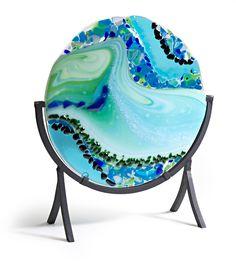 Sea glass - fused glass platter