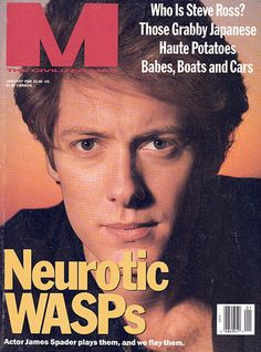 """mmagazine:  Throwback Thursday: Spader Neurotic WASP Edition James Spader on the cover of M's January 1990 issue. We're not sure about that """"Grabby Japanese"""" coverline either.  BABES, BOATS AND CARS"""