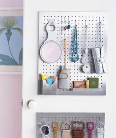 Real Simple: hang a pegboard in your closet so the floor and counter don't become a catch all. Brilliant!