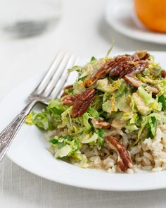 Shaved Brussels Sprouts and Rice with Tahini Miso Dressing