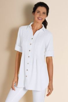 Getaway Gauze Shirt - Cotton Gauze Shirt Women, Womens Crinkle Shirt, Crinkle Cotton | Soft Surroundings