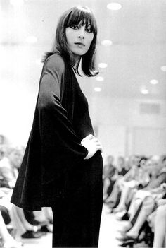 Anjelica Huston on the catwalk, 1970s.