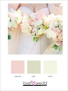 light pink, light green, cream #color palette #wedding