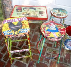 Painted & decoupaged furniture (find old bar stools and have fun)