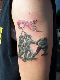 Artistic Ink: Iwo Jima breast cancer awareness and family tribute tattoo.