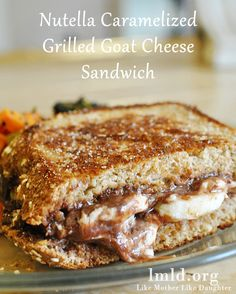 "In need of a delicious lunch idea? Instead of a normal grilled cheese try this nutella caramelized goat cheese sandwich. Its like a ""grown up"" grilled cheese #lmldfood"