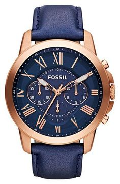 Fossil 'Grant' Round Chronograph Leather Strap Watch, 44mm | Nordstrom