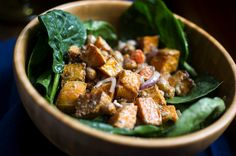 Spinach Salad with Roasted Sweet Potatoes and Spiced Chickpeas