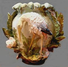 Majolica Jardiniere, Crane and Leaves, Barbotine.