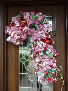 Deco Mesh CANDY CANE CHRISTMAS Wreath by decoglitz on Etsy