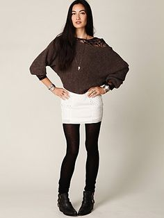 Looks comfy :) #slouchy #sweater #seethrough #undershirt #eyelet #skirt