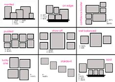 photo wall layout suggestions with various sizes...  'show off' is great and im keen on 'well balanced' too!