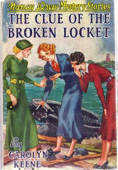 Nancy Drew: The Clue of the Broken Locket    The cover to this Nancy Drew book has always been kind of a mystery. With the exception of this book, Russell Tandy always did all of the artwork on the Nancy Drew books up through volume 26. He did the internal illustrations for this book, so why not the cover? It's a mystery! Where is Nancy to solve this?
