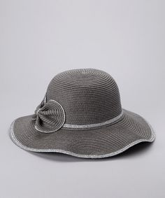 Take a look at this Gray Floppy Flower Sunhat by David & Young on #zulily today!