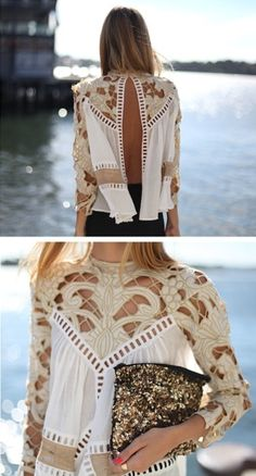 very cool lace tops, outfit, blous, clutch, boho, crochet tops, cut outs, shirt, style fashion