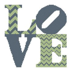 Cross Stitch Pattern Chevron Love Square Modern Cross Stitch Chart Pattern