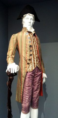 "Bright colors and patterns in this man's colonial-era outfit from  the Los Angeles County Museum of Art, ""Fashioning Fashion: European Dress in Detail 1700-1915. exhibit"""