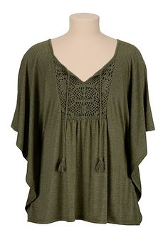 Crochet front poncho (original price, $29) available at #Maurices