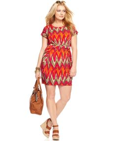 MICHAEL Michael Kors Plus Size Dress, Short Sleeve Printed Belted - Plus Size Dresses - Plus Sizes - Macy's