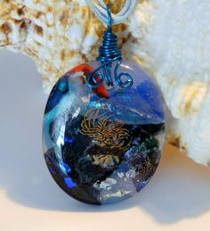 Fused Glass Stormy Sea Wire Wrapped pendant by uniquenique on Etsy, $28.00 #handmade #onfireteam #teamfest #tbec #lacwe #pendant #jewelry #sea #wire wrap