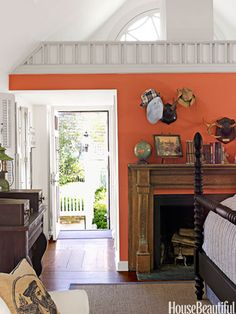 Cozy Coral Wall kitchen color, warm color, paint color, orang, fireplac, hous, benjamin moore, accent walls, bedroom