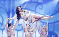 La cantante Ivi Adamou, que representa a Chipre, durante su espectáculo. Puedes ver su actuación en http://www.rtve.es/eurovision