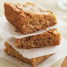"""These Flourless Peanut Butter Bars are easy and delicious treats. 2 cups natural peanut butter . 3/4 cup honey . 2 eggs . 2 tsp vanilla . 1 tsp baking soda. In a mixing bowl, use a fork to combine all ingredients. Spread batter into an 9"""" x 13"""" baking pan (greased lightly with butter or coconut oil). Bake at 300 F for 25 minutes or until the edges are nicely browned. Cool and cut into squares. Also delicious lightly frozen! (No link, just recipe) mixing bowls, baking pans, flourless peanut, cups, coconuts, peanut butter bars, coconut oil, cup natur, cooking light"""