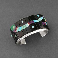 Cuff | Michael Dukepoo (Hopi, Yaqui).  Sterling Silver, Inlaid Natural Black Jade, Turquoise, Sugilite, Coral