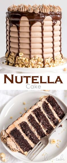 This Nutella Cake is six layers of pure decadence! Delicious chocolate cake layers, Nutella buttercream, and Nutella ganache. | livforcake.com