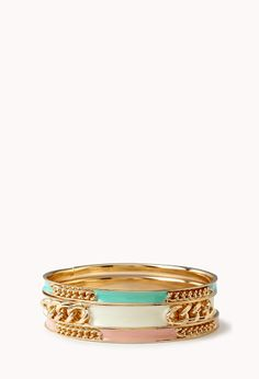 Chained Bangle Set | FOREVER21 Bang bang! #Accessories #Mint #Bangles