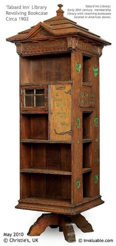 """'TABARD INN' Revolving Library Bookcase, Ca 1902.  """"The best reading rooms in the United States are the homes of the American people. All the good new books in the best bindings""""  An early 20th century  membership library with revolving bookcases located in American stores."""