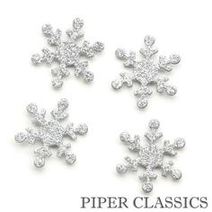 "Silver Glittered Snowflake Magnets - Set/4. Measurements:  1.5"" High"