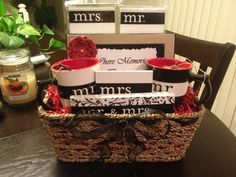 Wedding Gift Ideas Michaels : Cute Homemade Bridal Shower Gift Basket. The Mr. & Mrs. Gift Items are ...