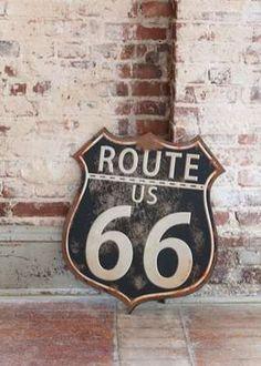 $34.50 {Vintage Retro} *HUGE* Route 66 Rusty Metal Sign ~Enjoy one decor deal a day from WUSLU ~www.wuslu.com