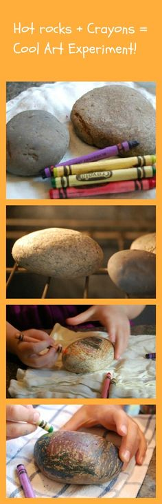 Need a quick and & easy craft idea? Try heating up rocks and drawing on them with crayons.