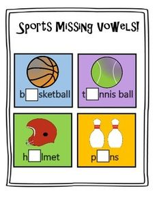 FREE Sports Missing Vowels Cards