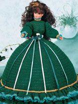 Crochet doll cloth, ball gowns, pattern, blue, crochet barbi, barbie, crochet accessories, pillow doll, shamrock pillow