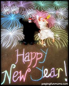 New Year's Eve Chalk Drawings – a FUN way to commemorate each year with your children.