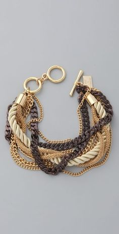 Juliet & Company Gold & Cognac Chains Bracelet