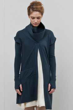 New Form Perspective -- Series 6 long wrap neck cardigan w/ detachable sleeves