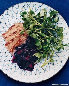 Pork tenderloin with blueberry chutney.