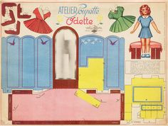 atelier poupette by pilllpat Paper doll with furniture