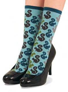 Squirrels Everywhere Socks on Turquoise.  I could see you wearing these!! @Bleighton Owsley