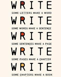 Write Write Write Art Print To Motivate Your Writing For Novelists Writers Authors Nanowrimo Participants. $18.00, via Etsy.